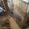 Séchage des fondations avant l'installation de la membrane